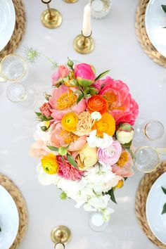 Citrus Garden Wedding - Style Shoot - The Daily Dose Floral Centerpieces, Wedding Centerpieces, Floral Arrangements, Wedding Bouquets, Wedding Decorations, Table Arrangements, Bright Wedding Flowers, Floral Wedding, Wedding Colors