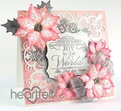 Heartfelt Creations   Pink And Silver Poinsettias