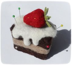Gift Felt toys Felted Soft sculpture Felt food Cake Pin by WoolPaw