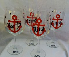 Anchor Wine Glass Nautical theme Bachelorette by kreationsbykjs, $11.00