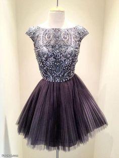 Short Dark Grey Bead Tulle Prom Dress Custom Dress Straps Knee-length Formal Dress Homecoming Dress Party Dress Cocktail Dress