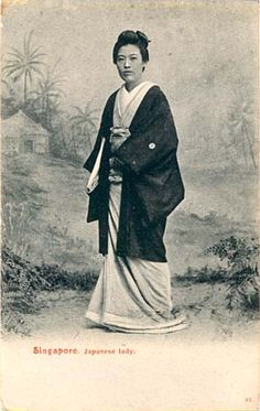 (not sure whether she is a karayuki-san from her kimono and hair - maybe a brothel owner? Japanese Photography, Travel Abroad, Vintage Japanese, Geisha, Southeast Asia, Old Photos, Singapore, Hair, Kimonos