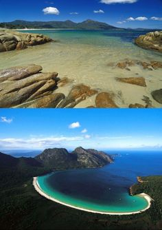 "Tasmania, south of Australia, you will find the lovely Freycinet National Park, home to the stunning Wineglass Bay. Some notable feature of Wineglass Bay, besides its distinctive ""wineglass"" shape, are some interesting pink granite peaks standing in a line on the beach. These are called ""The Hazards"", and the beach they stand on is often referred to as Hazards Beach. Australians have long known about this haven for fishing, boating, sea kayaking, rock climbing, and fun in the sun, but so far…"