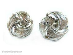 Vintage Lisner Feather Swirl Earrings Jewelry 1950s