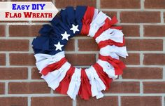 Make your own no sew Flag Wreath using these easy step by step instructions. This cute patriotic decor is perfect for Memorial Day, Independence Day, or any day… Patriotic Wreath, Patriotic Crafts, July Crafts, Holiday Crafts, Patriotic Party, Kid Crafts, Holiday Ideas, Joy Holiday, Holiday Wreaths