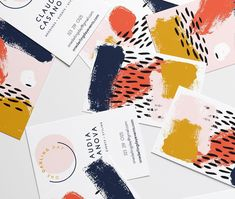 Moglea inspired business cards.  Paint Splash graphics. Wedding business cards. Graphic Design business cards.
