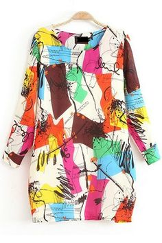 Love ... Love ... Love this Doodle Print Loose Fashion Dress #colorful #Spring_2014 #Fashion