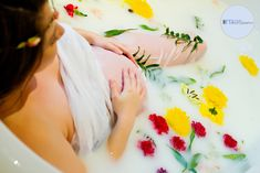 #milkbath #flowercrown #pregnant #photography #lighting #strobes #flowers #elegant #clawfoottub
