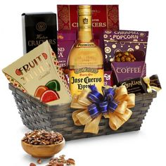 Jose Cuervo Tequila Gift Basket-For the classic tequila lover - Jose Cuervo Gift Basket.  | spiritedgifts.com Alcohol Gift Baskets, Alcohol Gifts, Gourmet Gift Baskets, Winter Drinks, Holiday Drinks, Flavored Tequila, Hangover Drink, Tequila Bottles, Wine And Liquor