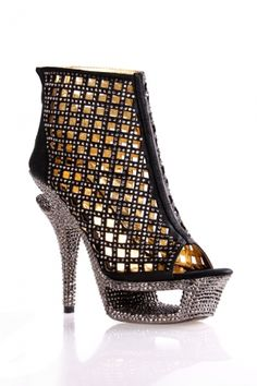 Crystal-embellished  toeless High Heel Shoes