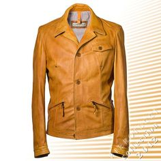 Mens Designer Leather Jacket with button up front This fitted men's leather jacket is cut to emphasize an active figure. The top stitching decoration, various pockets and button up front are all classics for a beautiful tailored men's designer leather jacket from Florence Italy.