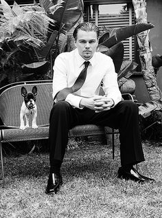 Leonardo DiCaprio, and a french bulldog. Two of my favorite things in one picture. Swoon!