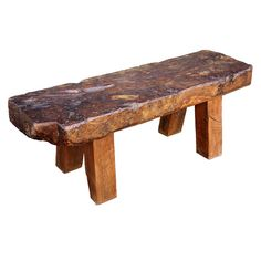 Antique Rough-hewn oak bench - love.