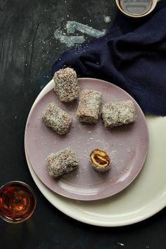 lamington mini roll cakes with chocolate cream by Nina Gabelica
