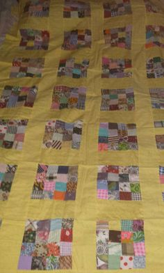 Yellow Square Quilt Top by GrannyQuiltShop on Etsy Quilt Top, Square Quilt, Quilting, Blanket, Yellow, Unique Jewelry, Handmade Gifts, Etsy, Vintage