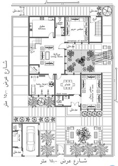Bungalow Floor Plans, Duplex House Plans, Dream House Plans, House Floor Plans, Narrow House Plans, Simple House Plans, Family House Plans, Home Map Design, Modern Villa Design