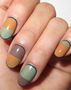 Choose another surprising fall color palette in coral, taupe, and jade. Use tape to help avoid uneven lines. Design by @nataliepavloskinails