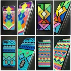 Phone hard case plastic covers decorated with hama mini beads by BlackChameleon