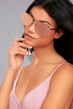 #Lulus - #Lulus Quay The Playa Gold and Pink Aviator Sunglasses - AdoreWe.com