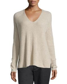 VINCE CASHMERE CUTOUT-BACK BLOUSON SWEATER, HEATHER MARZIPAN ...