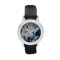 Wolf face colored wrist watch