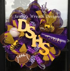 High School Wreaths with mega phone, yellow jackets, baseball, and football. Chevron and Polka dot ribbons. Great for football season!  Jayne's Wreath Designs on fb