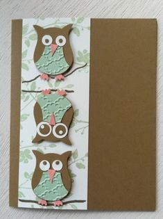"""Owl punch card... cute with one upside down!... would work great with sentiment """"don't ask, it's been one of those days""""!...artist unkmown"""