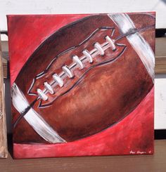 Football Canvas Painting Touchdown! Makes an awesome gift and is a great addition for any sports fanatic or little boys bedroom! Artwork can be customized with the childs name and/or birth date at no additional charge! Hand-drawn and hand-painted using high quality acrylics and sealed for extra protection. Pieces are painted on artists quality canvas and come standard with a sawtooth on back for easy hanging. When ordering, please include any specific changes in color and/or any o...