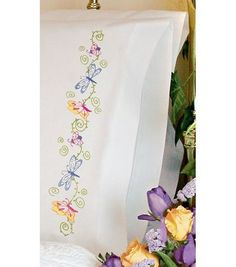 Whimsical Butterflies Pillowcase Pair Stamped Embroidery