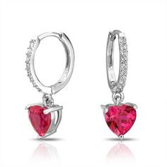 Bling Jewelry Red CZ Heart Huggie Hoop Earrings Sterling Silver ** Read more reviews of the product by visiting the link on the image.