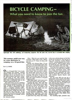 A cute (old!) article from 1972 on bicycle touring and camping. Lovely! One day I hope I will be on a tour just like the happy couple in the photo.