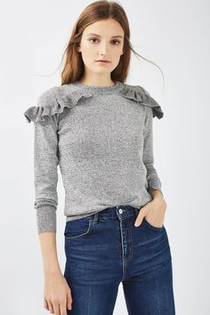 Add a flash of femininity to your casual-cool styles with this long sleeved jumper with ruffle shoulder detailing. Create a contrast look with a pair of ripped jeans. Try one of our lace/decorative trims to a plain top to create this Topshop essential. Fashion Outfits, Womens Fashion, Fashion Trends, New Wardrobe, Pulls, Beautiful Outfits, Casual Wear, Winter Outfits, Knitwear