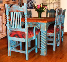 Mexican Country Style Painted Wood Dining Set | Pinterest | Mexicans ...