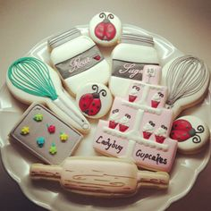Baking themed cookies by Snickerdoodle Sweets
