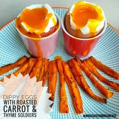 Swap toast for these roasted carrot soldiers to dip into your boiled eggs for a tasty, healthy breakfast. Easy to prepare and great for kids too. Roasted Carrots, Oven Roast, Healthy Alternatives, Tray Bakes, Quick Meals, Food Pictures, Healthy Dinner Recipes, Delish, Brunch