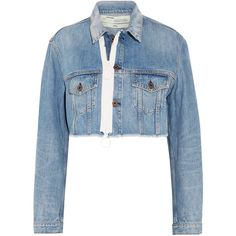 Off-White Cropped frayed denim jacket (1 565 BGN) ❤ liked on Polyvore featuring outerwear, jackets, mid denim, zipper jacket, zip denim jacket, zippered denim jacket, cropped jean jacket and denim jacket