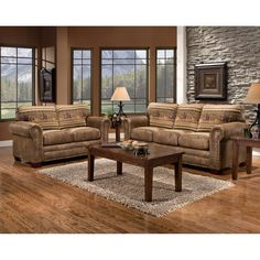 American Furniture Clics Wild Horses 4 Piece Living Room Set With Sleeper Sofa