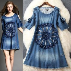 Round Collar Embroidery Cowboy Dress on Luulla Recycled Fashion, Recycled Denim, Denim Fashion, Boho Fashion, Womens Fashion, Jeans Refashion, Mode Jeans, Denim Ideas, Denim Crafts