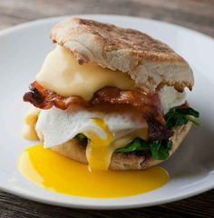 Classic Breakfast Sandwich - Spinach and sauce?!?! Yes!