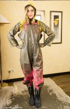 Lady in mud covered yellow rain suit and pink PVC rain overalls Raincoats For Women, Jackets For Women, Pvc Trousers, Mudding Girls, Rubber Raincoats, Rain Suit, Yellow Raincoat, Women Wear, Sexy Women