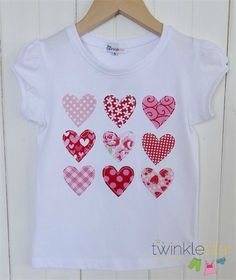 All My Love - Valentine hearts applique tee! Sewing For Kids, Baby Sewing, Applique Designs, Embroidery Designs, Diy Shirt, Tee Shirts, Love Valentines, Valentine Hearts, Sewing Appliques