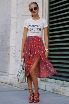 This, This, This: How to Dress Up Your Graphic T-Shirt. Via Drop Dead Gorgeous - The addition of a casual cotton T-shirt—especially one with graphic text—is the casual fixture you need to take liberties elsewhere. So, go ahead, slip into that slit skirt and lace-up heels!
