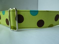 Warm Wags Large 1.5 Inch Wide Greyhound Martingale Collar Bright Green with Brown and Turquoise Dots... Free US Shipping. $22.00, via Etsy.