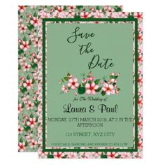 Blossoms Save the Date pink & Green Card - invitations personalize custom special event invitation idea style party card cards