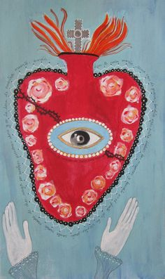 Folk Art Mixed Media painting of The Sacred Heart | Flickr - Photo Sharing!