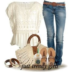 white-lace-blouse-with-straw-bag, earthy tones summer outfits
