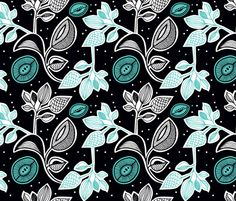 Retro flowers night fabric by littlesmilemakers on Spoonflower - custom fabric - wallpaper and wrapping paper and some DIY inspiration by Maaike Boot