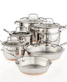 Martha Stewart Collection Copper Accent Cookware, 12 Piece Set