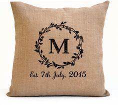 Couple Pillow Cover Monogram Pillow Est Date Pillow by AmoreBeaute