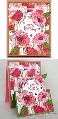 Stampin' Up! Cards - Painted Poppies Stamp Camp - Painted Poppies and Pe. Stampin' Up! Stampin Up Weihnachten, Stampin Up Karten, Masculine Birthday Cards, Happy Birthday Cards, Masculine Cards, Poppy Cards, Decor Inspiration, Fun Fold Cards, Stamping Up Cards